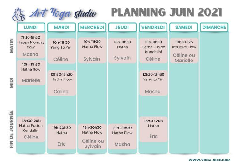 Planning Art Yoga Studio, Cours de Yoga à Nice.