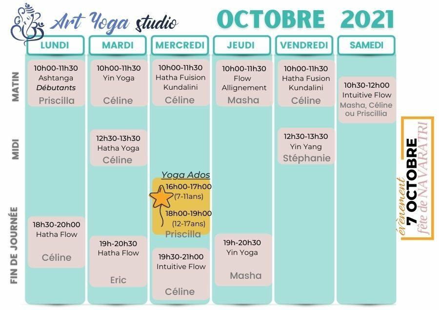 Planning Art Yoga Studio Octobre 2021